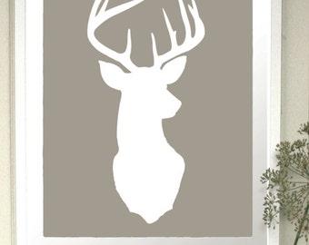 Deer Head Silhouette Print Deer Oh Deer 8x10 Inch Stag
