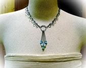 Wire Necklace Handmade Steel Chain with Opalite and Cats Eye