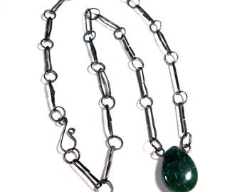 Wire Work Necklace: Green Jasper on Handmade Steel Chain