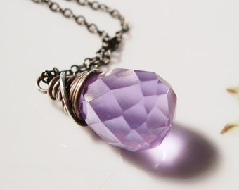 Wire Wrapped Crystal Necklace - Lavender in Sterling Silver