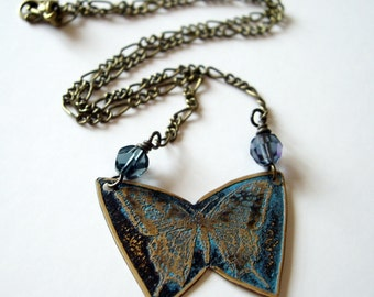 Etched Brass Butterfly Necklace