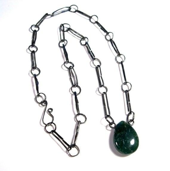 Wire Work Necklace: Green Jasper on Handmade Steel Chain