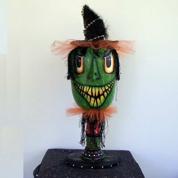 Reserve for Julie  Halloween Hag Gourd Doll - Green Witch Figure - MHA Team - Nightmare Team