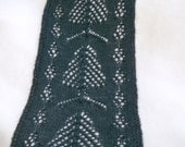knit PDF pattern scarf or hooded scarf pine trees and cones