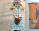 Jack and Jill, Jill with pail crochet bookmark
