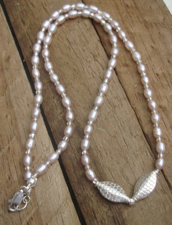 SALE-Peach Pearls Sterling Silver Hand Crafted Necklace-SALE