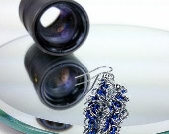 Blue - Chainmaille Earrings - Floppy & Light