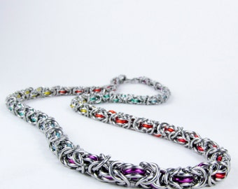 Rainbow Byzantine - Chainmaille Necklace