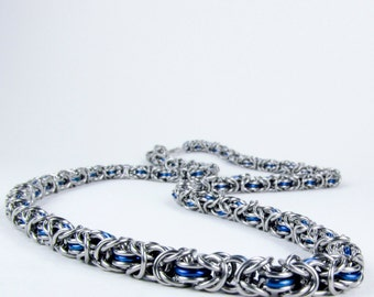 Chainmaille Necklace - Thin Blue Byzantine