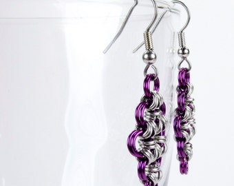 Purple - Chainmaille Earrings - Japanese Diamond Pattern