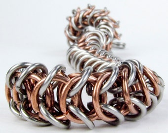 Chainmaille Bracelet - Copper & Stainless Steel