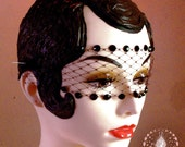 Vamp Black Lace Bandeau Mask w/ Onyx Black Swarovski Crystals & French Netting - by Moonshine Baby