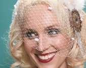 Let It Snow Birdcage Veil w/ Chenille Dots - Winter Bride Blusher- By Moonshine Baby