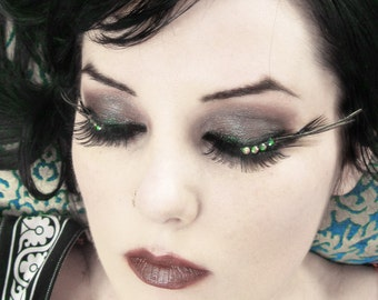 ABSINTHE Green & Gold Peacock Feather Eyelashes w/ Iridescent Swarovski Crystals - By Moonshine Baby