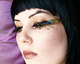 QUEEN ISIS Peacock Feather Eyelashes w/ Crystals - By Moonshine Baby