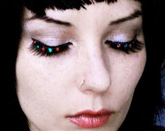 Holiday Eye Lights - Festive Red & Green Swarovski Crystal Eyelashes - By Moonshine Baby