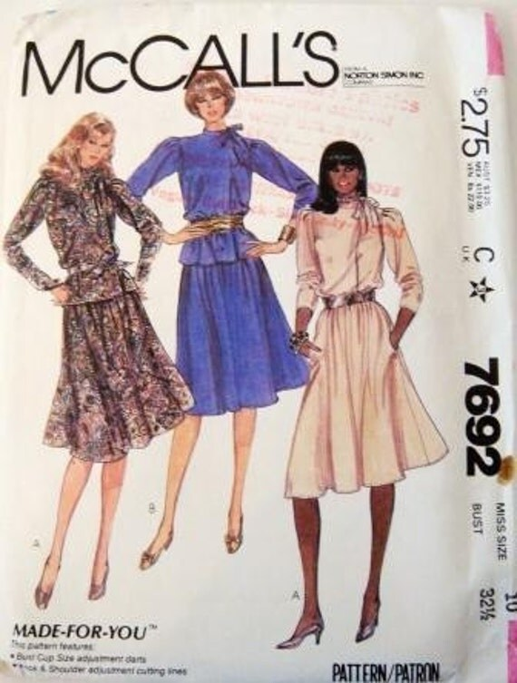 Sewing Pattern  McCalls 7692 UNCUT Misses Blouse and Skirt Size 10 Vintage 1981