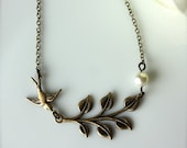 Brass Leaf Ivory Pearl Flying Bird Necklace Bridesmaid Gifts Holiday Gift For Her Woodland Rustic Necklace Rustic Barn Wedding Bird and Leaf