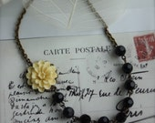 An Ivory Flower Vintage Style Necklace. Black Beads. Cream Mum Flower.  Garden theme Wedding. Bridesmaid Necklace.