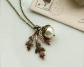 An Antiqued Copper Autumn Oak Leaf and An Oxidized Brass, Pearl Acorn Necklace.Gift for Mom. Bridesmaid Gift Ideas. Maid of Honor.