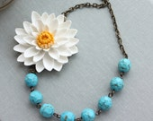 Large White Chrysanthemum Flower Blue Howlite Gemstone Necklace. Statement.  Gifts For Wife. Mom Mothers Day. Valentines Day
