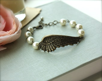 Angel Wing Bracelet. Oxidized Brass Large Angel Wing Bracelet. Gifts for Sisters. Christmas Gift Ideas. Angel Love, Wing Jewelry, Angel Mom