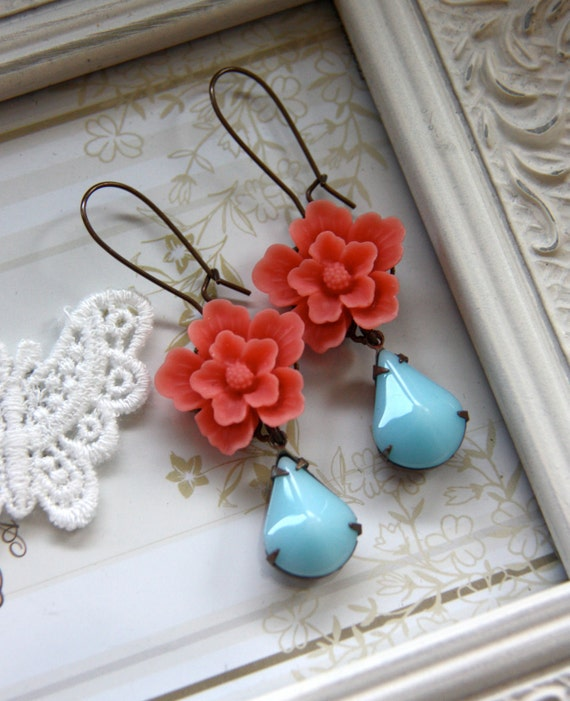 A Coral Orange Flower, Vintage Opaque Light Blue Aqua Pear Dangle Earrings. Gifts for Friends. Summer. Cottage Chic. Bridesmaids Gifts.