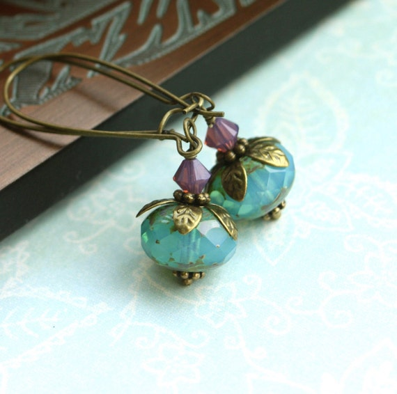 Sweet Days Ahead.  A Transparent Opal Blue Picasso Czech Rondelles Vintage Style Antiqued Brass Earrings.  Summer Inspired. Gift for Mom.