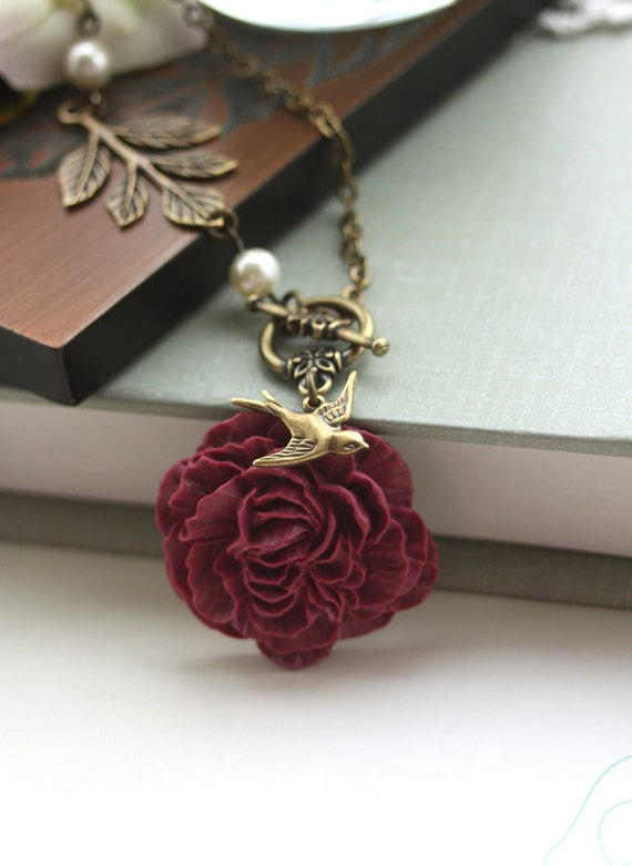 A Romantic Maroon Peony Flower, Flying Swallow Bird, Ivory Crystal Pearl Necklace.  Gifts for Bridesmaids,  Maid Of Honor. Autumn Wedding.