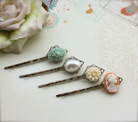 Floral Wonderland No. 2 - Sweet Silver Plated Hair bobby Pins / Hair Clips - Bobby Hairpins. Bridesmaids Gifts. For Daugther. For Sisters.