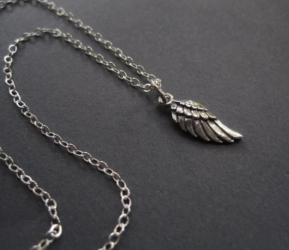 Angel Wing Necklace - Sterling Silver Necklace - Minimal Necklace