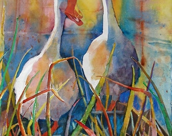 Two Silly Geese in reeds jabber walking digital print
