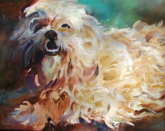 Lahasa Apso Dog blonde portrait 8 x 10 free shipping in US