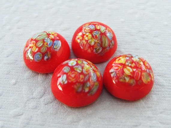 12mm Round Red and Millefiori Speckled Vintage Glass Cabochons (4)