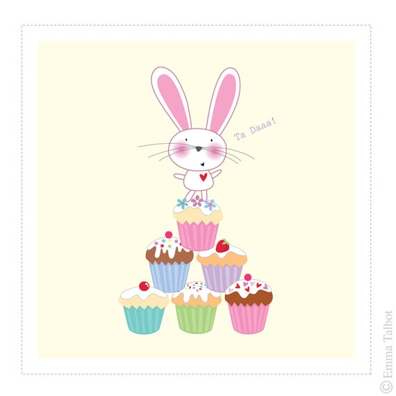 Bunny Art, Art For Children, Art for Kids, Girls Decor, Girls Room Art, Nursery art - Six Cupcakes and a Bunny ART PRINT by Emma Talbot