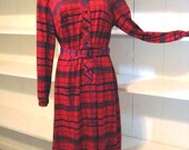 70s Paul Alfred Dress Red...