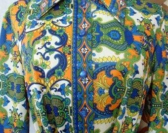 70s Jersey Polyester Shirt Dress Spring Dress 30 Inch Waist