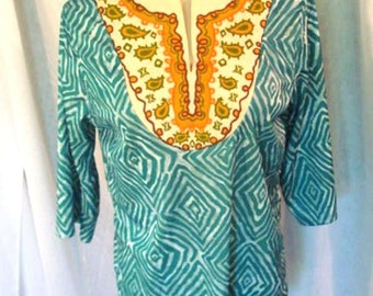 70s Dashiki Style Blouse African Jersey Blouse Size M