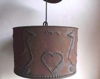 70s Pendant Lamp Punched Tin Lamp / Nursery Decor / Folk Rustic Cottage Farmhouse Decor  / Geese n Hearts