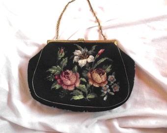 Needlepoint Handbag Purse / Vintage 50s Petite Point Purse / Fall Winter Fashion