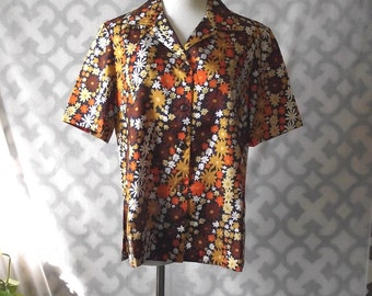 60s Blouse Short Sleeve Top Brown Gold 38 Inch Waist
