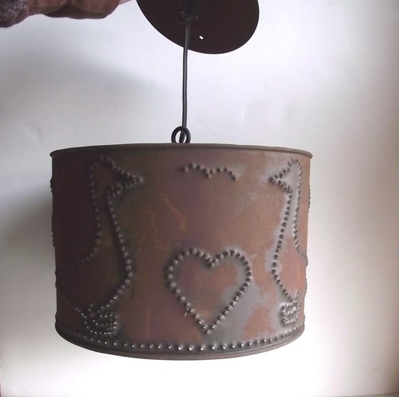 70s Pendant Lamp Punched Tin Lamp Nursery Decor Folk