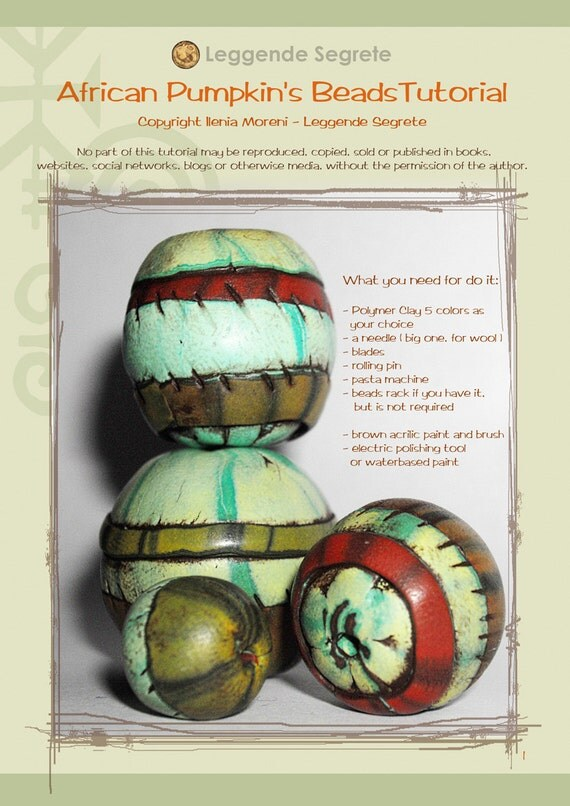 "Polymer Clay Tutorial ""African Pumpkin's"" Bead"