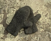 Mittens Handknit Felted  charcoal grey-gray 100% wool Size Medium mens or womens large