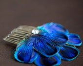 CARLY COMB - Peacock Feather Comb Fascinator Wedding Hair Accessory - Made to Order