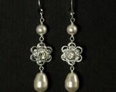 Pearl Wedding Jewelry -- Long Pearl Wedding Earrings, Flower Bridal Jewelry, Silver Rhinestone Bridal Earrings -- ROMANCE IN BLOOM