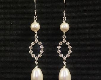 Pearl Bridal Earrings, Long Pearl Drop Earrings, Rhinestone Wedding Jewelry, Swarovski Crystal Dangle Earrings, Bridesmaid Earrings - CLAIRE