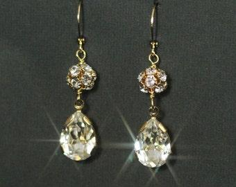 Rhinestone Bridal Earrings Gold Vintage Wedding Jewelry Swarovski Crystal Rhinestone Teardrops Dangles Bridesmaids Earrings  -- SPARKLE DROP