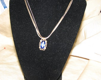 Art Nouveau  Blue Rhinestone Necklace