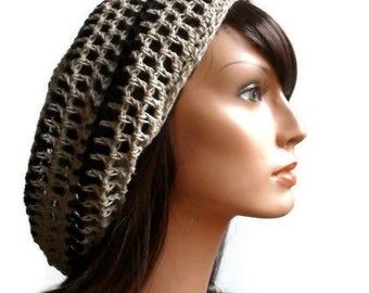 Eco Friendly Hemp Mesh Tam in Kakhi and Black Dread Tam Made to Order